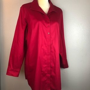 Chico's Red No-Iron Button Down Blouse 16